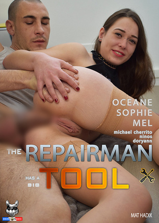 The repairman has a big tool