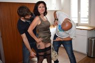 Leoni Citelli gets naked in front of two men in Welcome home ! - studio Tellement Bonnes in VOD on Dorcel Vision