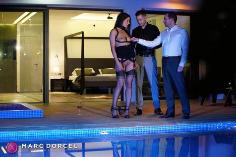 Alexa Tomas naked by the pool in front of her husband and a friend in Luxure my wife fucked by others on Dorcel Vision - studio Dorcel